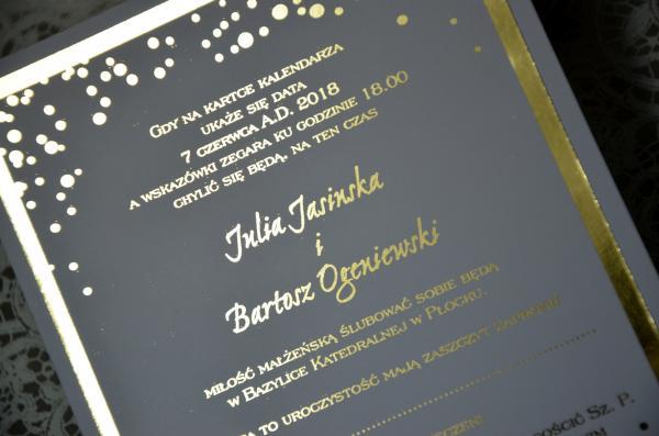 Zaproszenia ślubne Białe Złocone Jedno Kartkowe Cena 25 Zł Galera