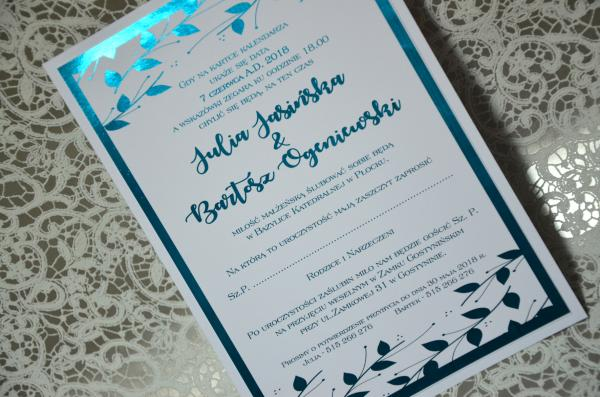 Zaproszenia ślubne Turkusowe Mieniące 4 Zł Galera Realizacji